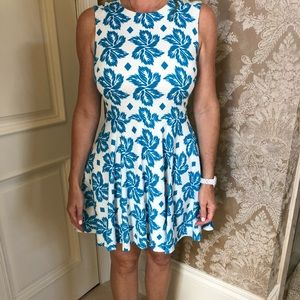 Aqua and white fit and flare dress size 8